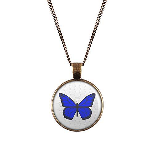 Mylery Halskette mit Motiv Schmetterling Blau bronze 28mm