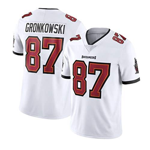 Buccaneers Gronkowski # 87 Herren Rugby Trikot USA Fußball Shirt Baumwolle Kurzarm Sportswear Ideal für Alltag und Rugby Wettkampf Gr. L, weiß