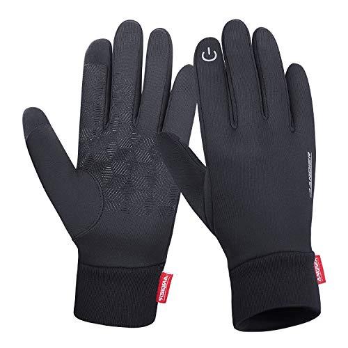 coskefy Fahrradhandschuhe Winter Handschuhe Damen Herren Sport Warm Touchscreen Laufen Arbeit Outdoor Gloves rutschfest Winddicht schwarz Fitness Camping Wandern Reiten Bergsteigen