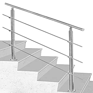 Hengda Pasamanos escalera acero inox 150 * 4.2 * 106.5cm,3 barras,barandilla con kit de instalación,para interiores y exteriores, escaleras, balcón, balaustrada