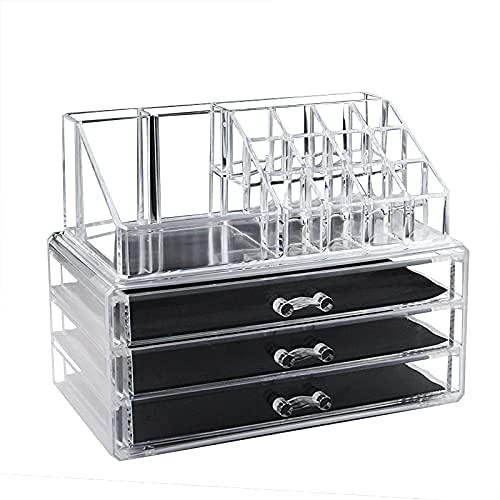 LITINGT Cosmetic Storage Box Acrylic Makeup Organizer Lipstick Powder Cosmetic Storage Box Brush Holder Transparent Jewelry Display Drawers (Color : 4)