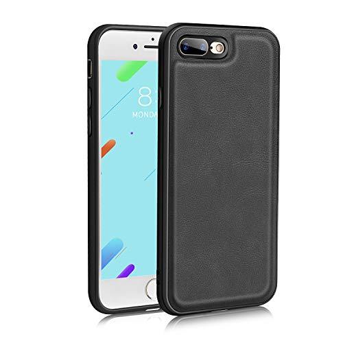 Bewahly Cover per iPhone 8 Plus / 7 Plus, Premium Pelle Custodia Ultra Sottile Protettiva Case TPU Morbido Silicone Bumper [Antiurto, Antiscivolo, AntiGraffio] per iPhone 7 Plus / 8 Plus - Nero
