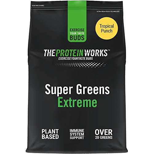 THE PROTEIN WORKS Super Greens Extreme In Polvere   20 Tipi Di Vegetali   Aiuta A Proteggere Il Sistema Immunitario   Vegano, A Basso Contenuto Di Zucchero   Punch Tropicale   500g