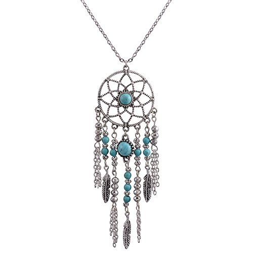 CrazyPiercing Retro Silver Tone Chain Necklace, Vintage Dream Catcher Turquoise Feather Pendant Long Chain Necklace Jewelry for Women Girls