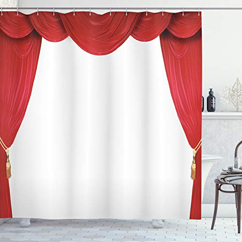 """Ambesonne Theatre Shower Curtain, Show Stage Curtains Opening Classic Antique Look on Plain Background Graphic, Cloth Fabric Bathroom Decor Set with Hooks, 70"""" Long, Red White"""