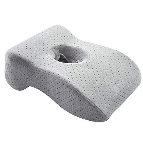 FVIEW - Almohada para siesta, diseño hueco transpirable, algodón con memoria espacial, rebote lento, fresco y transpirable, adecuado para aviones, trenes, trabajo (color: gris)