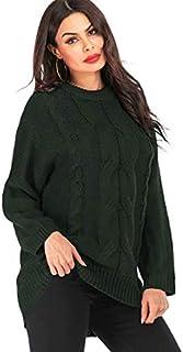 SDJYH Suéter de Mujer con Cuello Redondo Pullover Suéteres de Punto Suave Tops para Mujer 05