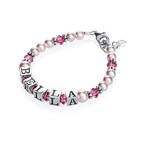 Personalized Name with Swarovski Crystal Handmade Keepsake Baby Girl Bracelet (B120_S)