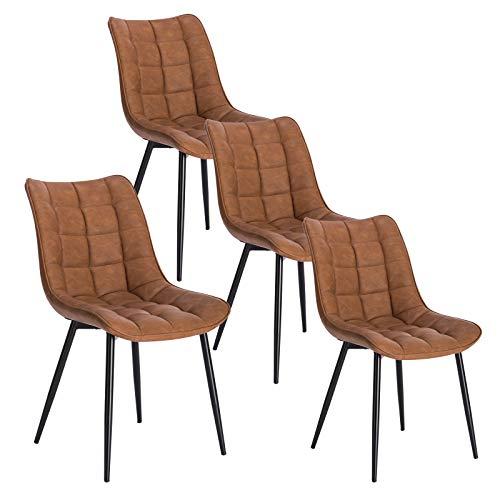 WOLTU 4 x Esszimmerstühle 4er Set Esszimmerstuhl Küchenstuhl Polsterstuhl Design Stuhl mit Rückenlehne, mit Sitzfläche aus Kunstleder, Gestell aus Metall, Hellbraun, BH207hbr-4