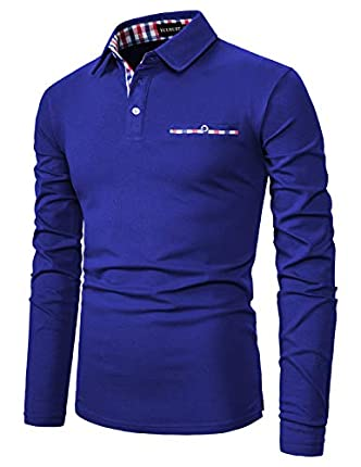 YCUEUST Polo Hombre Manga Larga Camiseta Clásico Cuadros Cuello T-Shirt Slim fit (Azul 1, XXXL)