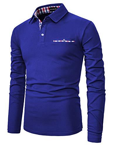 YCUEUST Cotton Reticolo Polo Uomo Manica Lunga Basic Golf Casual T-Shirt Blu 2 M