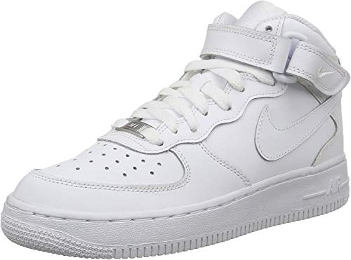 Nike - Zapatillas de baloncesto AIR FORCE 1 MID (GS) , Infantil , Blanco (WHITE), Blanco (WHITE), 38.5