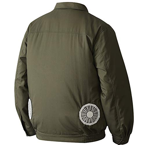 YL2SC Kühlventilator Jacke, Sommer Outdoor-Klimatisierte Kleidung Mit 2 Ventilatoren Für Outdoor-Hochtemperatur-Schweißer-Arbeitskleidung,Grün,L