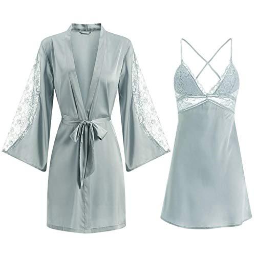 NYSYZSM Bademantel Robe Set Damen Silky Rayon Pyjamas Pyjamas Lässige weiche Kimono Bademantel Kleid Sexy Pyjamas