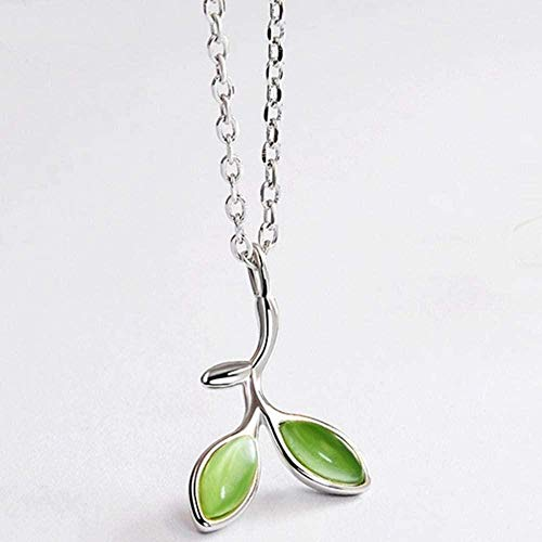 AKDLKXTS Necklace Green Tree Leaves Buds Enamel Women Pendant Necklaces for Women Jewelry