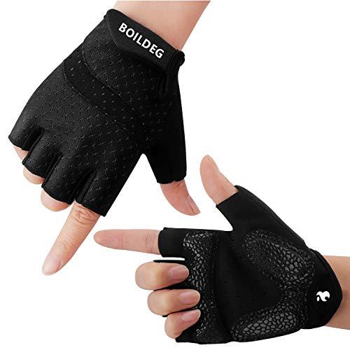 boildeg Fahrradhandschuhe Radsporthandschuhe rutschfeste und stoßdämpfende Mountainbike Handschuhe mit Signalfarbe geeiget Unisex Herren Damen (#Black, M)