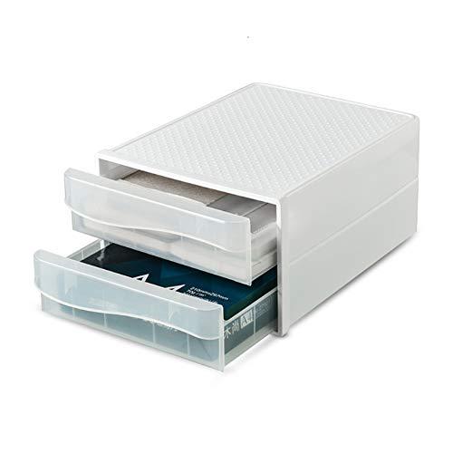 XGzhsa Cajonera de sobremesa, Organizadores de escritorio, Cajones cosméticos de archivo de plástico duradero de doble capa para papel A4, almacenamiento de oficina en el hogar (transparente) ⭐