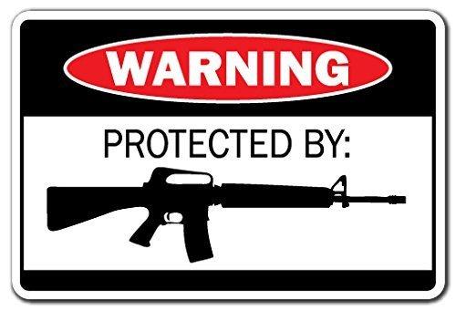 Decorativo Signs con refranes protegido por AR-15señal de advertencia regalo munición escopeta pistola Revolver Pistola Bala Metal Aluminio Pared Signo Señal De Seguridad