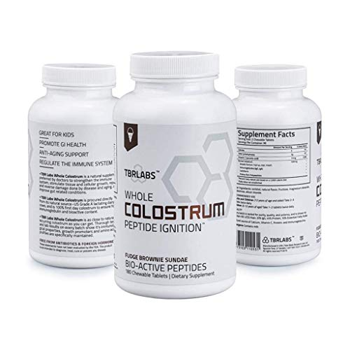 TBR Labs Colostrum (180 Chewable Tablets - 225 mg) Supports Immune System, Gut Health, Promotes Healthy Skin, Hair and Nails (Fudge Brownie Sundae)