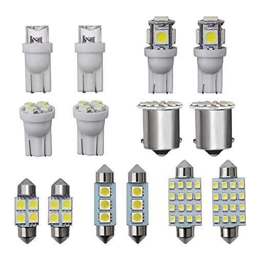 14 Pcs Luz de Coche Interior, Kit de Bombillas LED, Kit de Lámpara de Cúpula Placa de Matrícula Bombillas T10 C5W 6000K