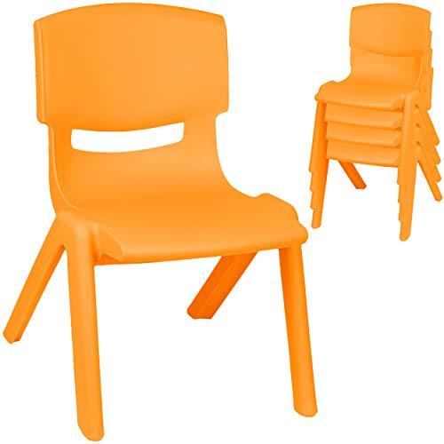 alles-meine.de GmbH 2 Stück - Kinderstühle / Stühle - Farbwahl - orange - Plastik - bis 100 kg belastbar / kippsicher - für INNEN & AUßEN - 0 - 99 Jahre - stapelbar - Garten - Ki..