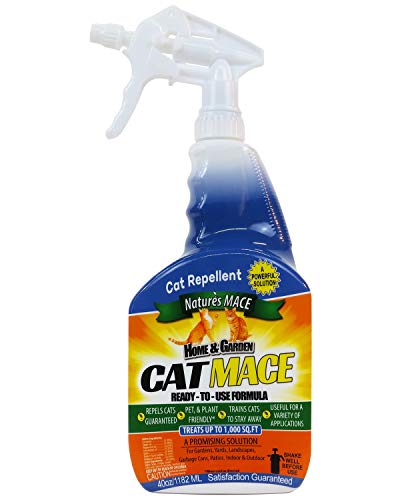 Nature's Mace Cat Repellent 40oz Spray/Treats 1,000 Sq. Ft. / Keep Cats Out of Your Lawn and Garden/Train Your Cat to Stay Out of Bushes/Safe to use Around Children & Plants