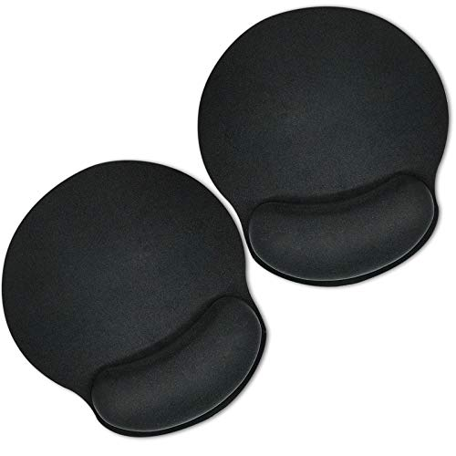 Mouse Pad with Wrist Support Mouse Pads 2 Pack Memory Foam Wrist Rest Mousepad with Non-Slip Rubber Base, Ergonomic and Comfortable Pain Relief for Home & Office, 9.84 x 9.05 inch, Black