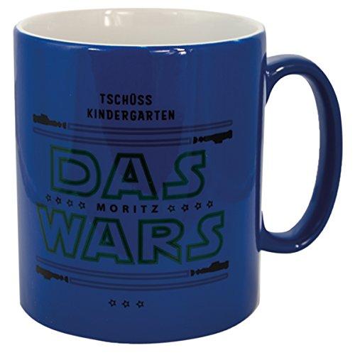 Geschenke 24 Tasse – Das Wars - Blau mit Wunschname: Bedruckte Kaffeetasse für Fans mit Lichtschwert Motiv