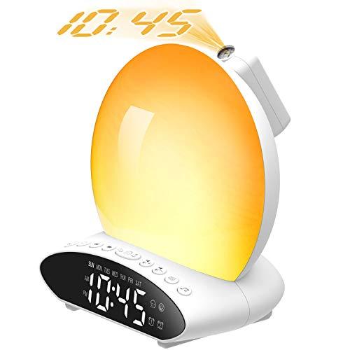 Wake Up Lichtwecker Projektionswecker,Fuloon Wake Up Light Sonnenaufgang Dual Wecker & Schlafmittel, Nachtlicht mit Projektionsuhr, UKW-Radio, Naturgeräusche und Atmosphärenlampenfunktion