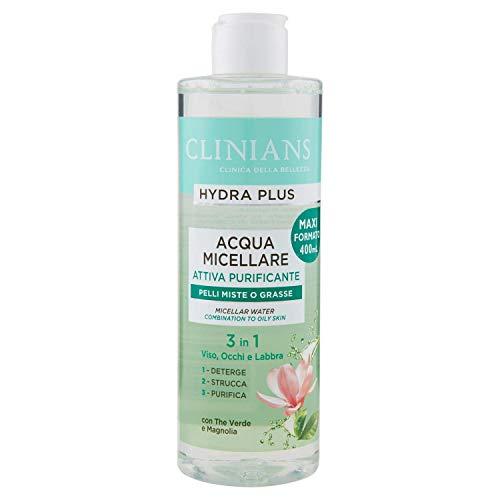 CLINIANS HYDRA PLUS agua purificadora micelar activa para pieles mixtas o grasas, con Te Verde y Magnolia, 400 mL