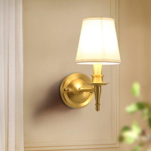 OOFAY TAPS Tout Bronze Chambre Applique Murale Tissu Tissu Abat-Jour Miroir Lumière Étude Salon Mur Surface Allée Mur Lumière d'or,1