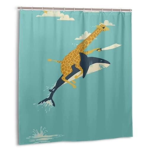 EILANNA Decorative Shower Curtain,Giraffe Riding Shark Adventure Theme,Waterproof Bathroom Shower Curtain Sets with 12 Hooks 66X72 in