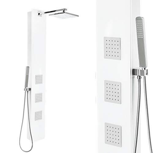 Premium Duschpaneel mit weißem Glas und vielen Funktionen Regendusche 150cm, Größe: mit Thermostat