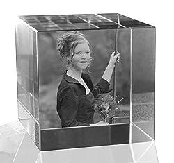 VIP-LASER 2D Gravur Glas Kristall Würfel mit dem Foto Deiner Freundin. Dein Wunschfoto für die Ewigkeit Mitten in Glas! Groesse XL = 60x60x60mm