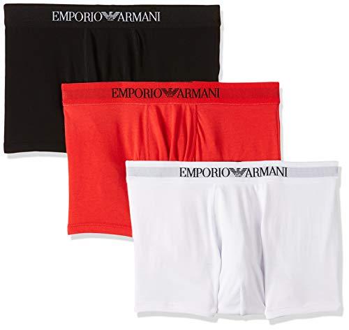 Emporio Armani Men's 3-Pack Cotton Trunks, Black/White/Red, Medium