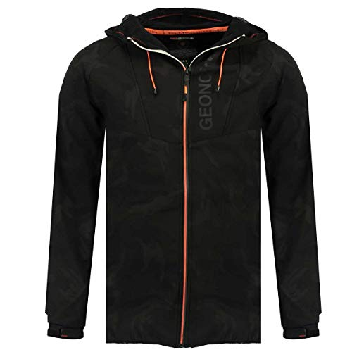 Geographical Norway Softshell Men Camouflage Tanis Men Chaqueta Deportiva con Capucha (Black, L)
