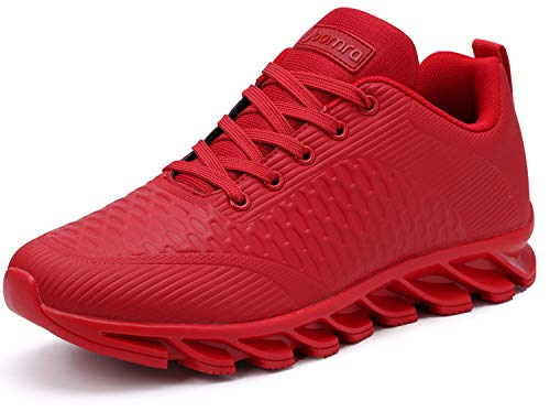 JOOMRA Men Tennis Shoes Leather Stylish Running Walking Fitness Footwear for Man Trainers Athletic Male Workout Sneakers Red Size 11