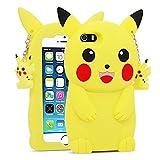 for iPhone 5 5S 5C SE Case Pikachu, BEFOSSON 3D Cartoon Cute Funny Kawaii Pokemen Pikachu Soft Silicone Rubber Phone Cover Case for iPhone 5 / 5S / 5C /SE for Girls Teens Boys Kids (4.0 inches)