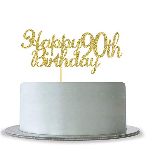Happy 90th Birthday Cake Topper - Gold