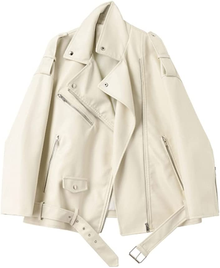 ZZABC NSWT Spring Autumn Faux Leather Jackets Women New Loose Casual Coat Female Drop-Shoulder Motorcycles Outwear with Belt (Color : Beige, Size : L Code)