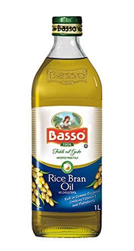 Basso Olio di Riso alimentare da tavola per condimento in bottiglia di vetro da 1 litro