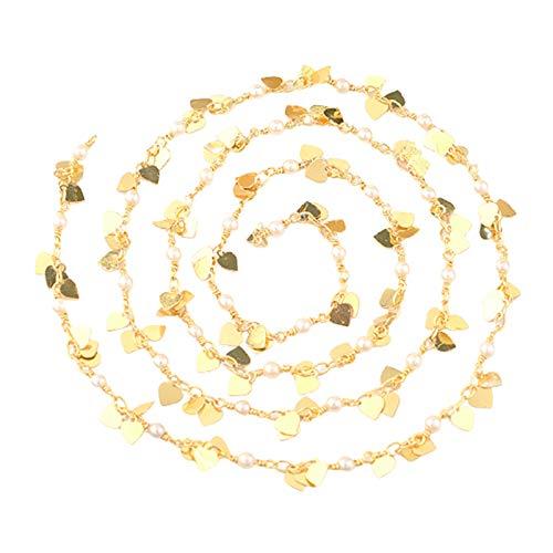 N/A/a Cadenas de Eslabones Hechos a Mano de Cadena de Corazón de Perlas de Latón Chapado en Oro para Hacer Joyas