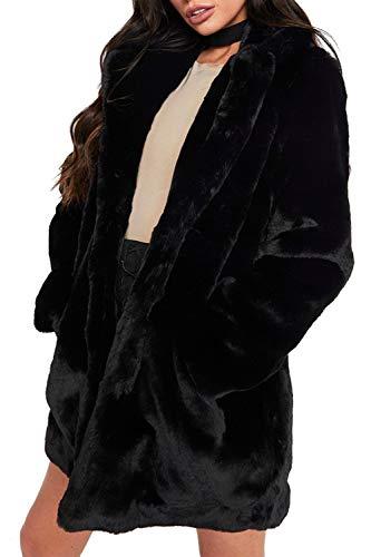 Zonsaoja Damen Kunstpelz Mantel Verdicken Pelzmantel Flaumig Warme Outwear Elegant Winter schwarz S