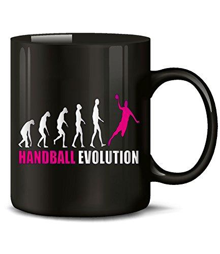 Golebros Handball Evolution Sport 742 Geburtstag Geschenk Fun Tasse Becher Kaffeetasse Kaffeebecher Schwarz-Pink