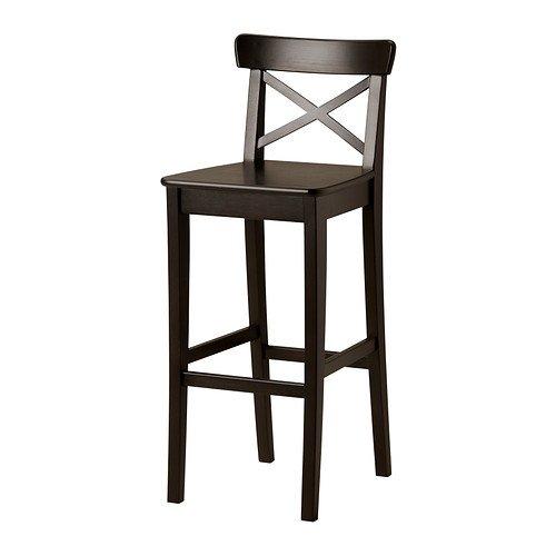 IKEA INGOLF–Barhocker mit Rückenlehne, Fach schwarzbraun