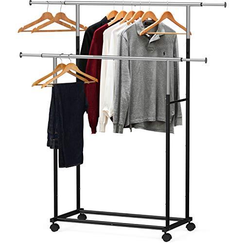 Simple Houseware Standard Double Rod Garment Rack Black