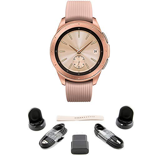 Samsung Galaxy Watch (42mm) Rose Gold (Bluetooth) US Version Bundle with 2 Charging Docks (Renewed)