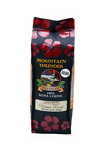 100% Kona Coffee - Private Reserve - Ground - Vienna Roast - 16 Ounce Bag - by Mountain Thunder Coffee Plantation