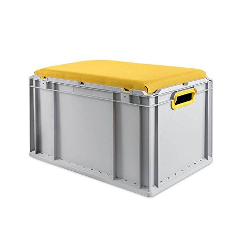 aidB Eurobox NextGen Seat Box, gelb, (600x400x365 mm), Griffe offen, Sitzbox mit Stauraum und abnehmbarem Kissen, 1St.