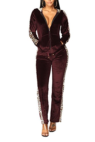 Selowin Ladies Active Leopard Print Side Zipper Hoodies Two Piece Tracksuits Outfits Wine Red S